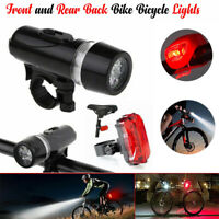 5 LED Lamp Bike Bicycle Front Head Light + Rear Safety Waterproof Flashlight  US
