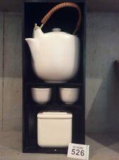 Tè per Due tazze di porcellana, Teiera e piccolo contenitore per tè cassetta in vetrina in legno