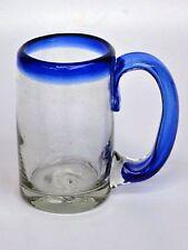 Mexican Glassware - Cobalt Blue Rim beer mugs (set of 6)