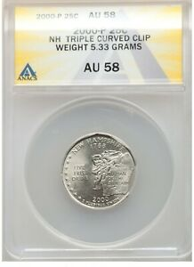 ER092 2000-P 25C New Hampshire Quarter Dollar -- Triple Curved Clip ANACS AU58