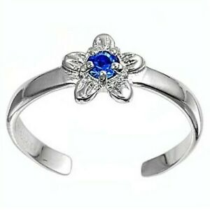 Flower Toe Ring Height 7 mm Sterling Silver 925 Blue Sapphire CZ Rhodium Plated