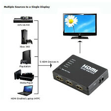 5 Port 1080p HDMI Switch Switcher Selector Splitter Hub iR Remote For HDTV PS4