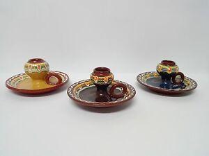 Palmatoria de ceramica esmaltada y pintada a mano portavelas. COLOR A ELEGIR