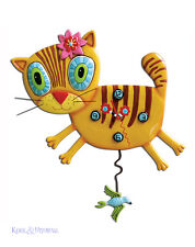 """Adorable """"Kimi Kitty"""" Ginger Cat Designer Wall Clock by Allen Designs"""