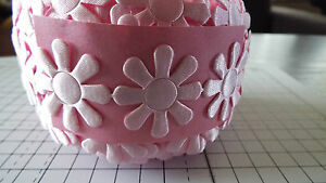 1m  Large-Pink, Daisy Flower, Trimmings,Wedding, Satin Lace Ribbon-width 3cm