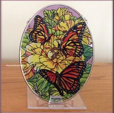 """Monarchs & Florals Stained Glass Suncatcher AMIA 7""""H Hand Painted Free US Ship"""