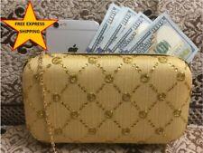 Women Indian Shell Minaudière Evening Handbag Silk Mobile Purse Clutch Gold