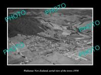 OLD LARGE HISTORIC PHOTO WAIKANAE NEW ZEALAND AERIAL VIEW OF THE TOWN c1950 1
