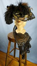 Edwardian Straw Hat, Feathers, Original Flowers, Paris Label, Stunner!