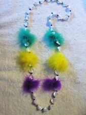"""FLUFFY FEATHERY """"BOA PUFF BALLS"""" PGY FESTIVE MARDI GRAS PARTY NECKLACE (B322)"""