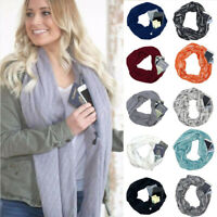 Convertible Infinity Scarf With Pocket Loop Scarf Women Winter Zipper Pocket USA