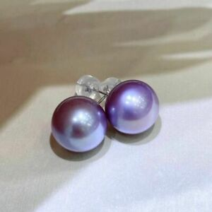 gorgeous  10-11mm south sea round lavender pearl earrin g18k