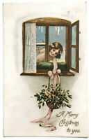 VTG 1909 A MERRY CHRISTMAS TO YOU POSTCARD EVE Syracuse NY Girl Grabs Flowers