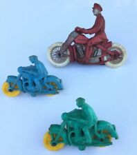 Lot Of 3 Vintage Auburn Rubber Motorcycle Toy Rider Made in USA