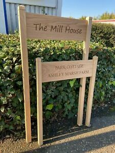 Oak House Sign with Post, Carved, Personalised Custom Engraved Wooden Plaque