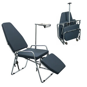 Portable Folding Dental Mobile Chair Microfiber Leather with Black Backpack P101