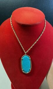 Kendra Scott Gold Tone Pendant Adjustable Necklace in Veined Turquoise