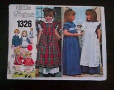 Vtg Little Vogue 1326 Old Fashioned Pinafore Dress 5 Christmas Cut Complete