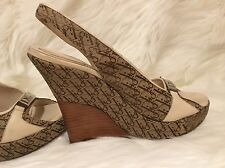 CHRISTIAN DIOR Wedge Platform Sandals 37 1/2 Logo Signature $795! FREE SHIPPING!