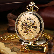 KS Luxury Men's Half Hunter Gold Chain Hand-winding Mechanical Pocket Watch+Box