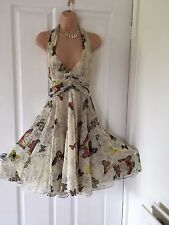 KAREN MILLEN STUNNING SILK CREAM/FLORAL BUTTERFLY HALTERNECK DRESS 10