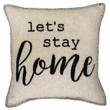 NWT Farmhouse Shabby Decor Stay Home Throw Pillow Linen Black Ticking Stripe
