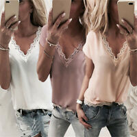 Women Ladies Lace Vest Sleeveless Loose Camisole V-Neck Tank Tops Blouse T-Shirt