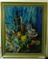 """August Kallert """"Stillleben mit Flaschen und Obst"""" Öl auf Leinwand,1922, signiert"""