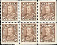 Canada Mint F-VF Scott #218b 1935 BOOKLET PANE of 6 2c Pictorial Stamps MNH/MH