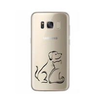Samsung Galaxy S8 Transparent silicone phone cover case line drawing dog / cat