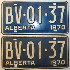 Pair of 1970 Alberta Canada Automobile Car Blue License Plate BV-01-37