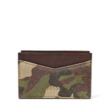 NEW- FOSSIL GORDON CAMOUFLAGE CARD CASE LEATHER MEN'S WALLET