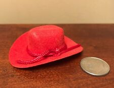 Red COWBOY HAT for SOME 1:9 & Other Scale Dolls SEE HEAD-OPENING MEASUREMENTS!