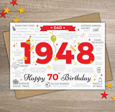 1948 DAD Happy 70th Birthday Memories / Year of Birth Facts Greetings Card Red