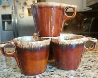 """Hull Pottery set of 4 Retro Coffee Cups-""""Brown Drip"""""""