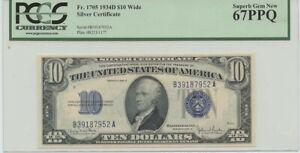 1934D $10 Silver Cert FR#1705 PCGS 67 PPQ Superb Gem New Wide