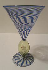 Bimini Werkstatte 1930s Vienna Art Glass V-shape Goblet w/ White Swan in bubble