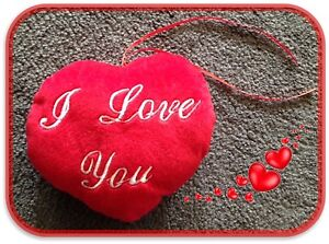 """Valentines Day/Love/Wedding Red """"I Love You"""" Plush Heart Pillow 18cm"""