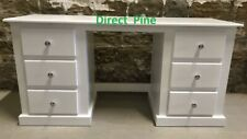 SHAFTESBURY DOUBLE 6 DRAWER DRESSING TABLE WHITE/CHROME DIMPLE KNOBS