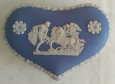 Vintage Wedgewood Light Blue Jasperware Heart Shaped Trinket Jewelry Box