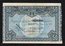 F.C. NUMERO BAJO , 50 PESETAS BANCO DE BILBAO 1937 ,  SIN SERIE , EBC- .