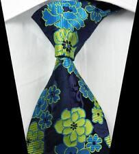 New Classic Florals Light Blue Yellow JACQUARD WOVEN 100% Silk Men's Tie Necktie
