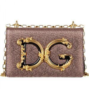 DOLCE & GABBANA Lame Baroque Logo Crossbody Bag DG GIRLS Pink Black 09703