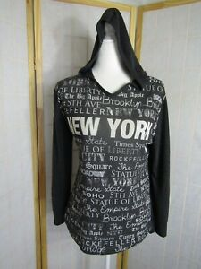 Sweet Gisele New York Print Gray Polyester Pullover Hoodie USA Made Women's L