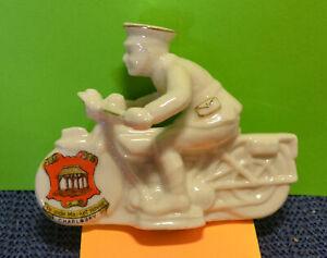 Crested Ware Arcadian Motorbike Dispatch Rider Figure. 'CHARLBURY' Used. bk