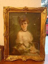 Pastel sous verre d'une jolie femme tenant un panier fleuri  , 57 x 32 cm
