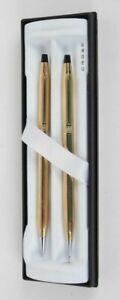 Cross  Set 23K Gold Ladies Ballpoint Pen & 0.5mm Pencil Set New In Box  454105