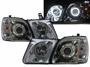 LX LX470 J100 MK2 1998-2007 SUV 5D Halo Projector Headlight Chrome for LEXUS RHD