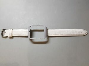 Sony SmartWatch 3 SWR50  Silver Housing (Adapter) & White Leather Strap