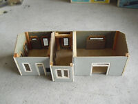 Vintage HO Scale Kit Built Wood Cardboard House with No Roof